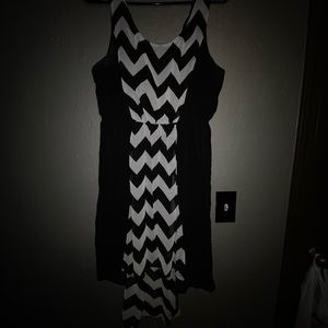 Black and White Chevron High-low Dress